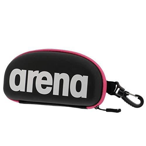 arena Unisex Schwimmbrillen Etui zur Aufbewahrung der Schwimmbrille (Hartschale, Karabiner), Black-White-Fuchsia (509), One Size