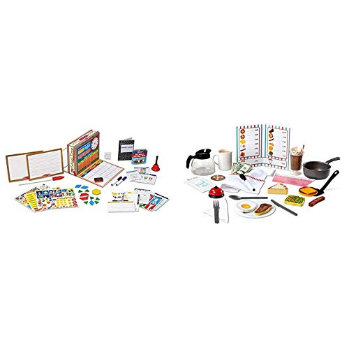 Melissa & Doug School Time! Classroom Play Set (Role-Play Center, Best for 4, 5, 6, 7 and 8 Year Olds) & Star Diner Restaurant Play Set (Toy Diner Set, 41 Pieces, Best for 3, 4, 5 Year Olds and Up)