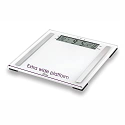 Super accurate, Premium quality, 6mm sturdy WIDE glass platform, body fat composition scales from trusted Weight Watchers brand 4 high precision load cells measures, BMI, Body Fat%, Body Water%, Muscle Mass% on a super large 183mm large clear display...