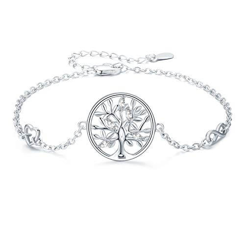 Tree of Life Bracelet for Women 925 Sterling Silver Infinity Love Heart Symbol Charm Adjustable Chain Bracelet Gifts for Sister Friend Mum