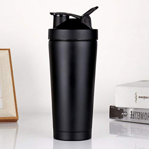 750ml Exercise Protein Powder Shaker 25oz Double Vacuum Insulation Stainless Steel Cup 304,Matt Black,550ml