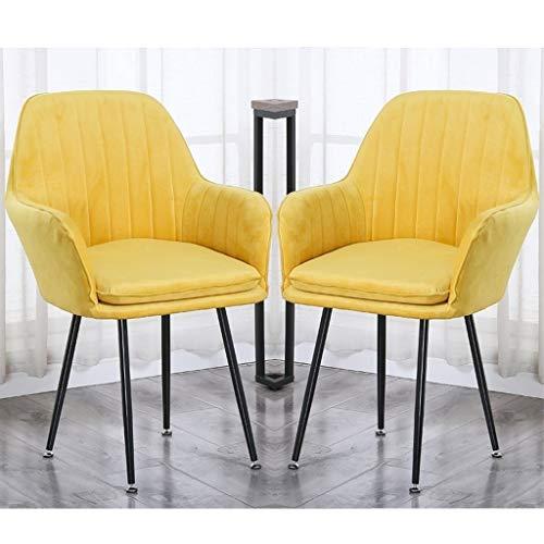 Juego de 2 sillas modernas de cocina, para comedor, salón, sala de estar, esquina, patas de acero de terciopelo, silla con respaldo de apoyabrazos (color amarillo, tamaño: patas negras)