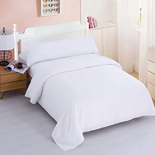 Dalina Textil Juego de Sábanas para Cama 3 Piezas - 1 Sábanas Bajera Ajustable Cama 150cm con Encimera 230x260cm y 1 Funda de Almohada Larga ( Cama de 150x190-200cm Blanco)