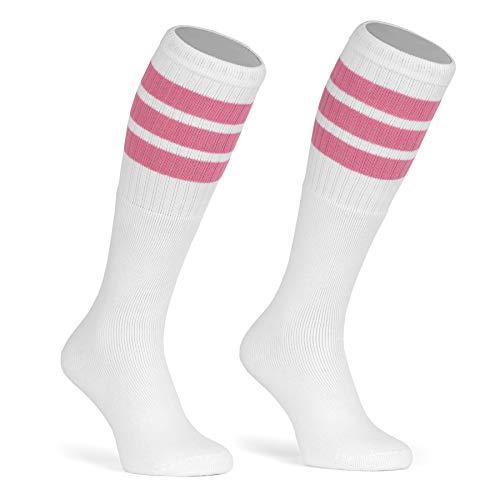 skatersocks 22 Inch kniehohe gestreifte Damen Socken Kniestrümpfe knee high overknee Old School Retro Tube Socks weiss - bubblegum pink gestreift