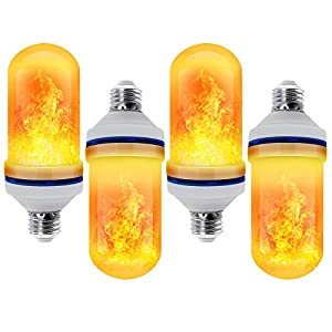 CPPSLEE - LED Flame Effect Light Bulb - 4 Modes with Upside Down Effect - E26 Base LED Bulb - Flame Bulbs for Christmas Decorations/Hotel/Bar/Christmas Party Decoration (4Pack)