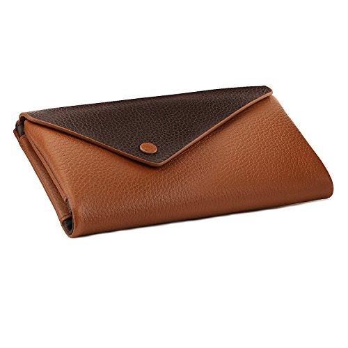Otto Angelino Echtleder Brieftasche im Briefumschlag-Design mit Smartphone-Fach - RFID Schutz - Unisex (Hellbraun)