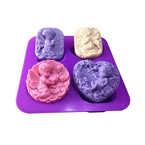 CKBAKIE 3D Angels Silicone Jelly Sugar Chocolate Fondant Molds Handmade Soap Mold Cupcake Decoration Tool CK040 (Purple)