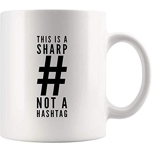 Tasse à café humoristique avec inscription « This is A Sharp Not A Hashtag » en céramique