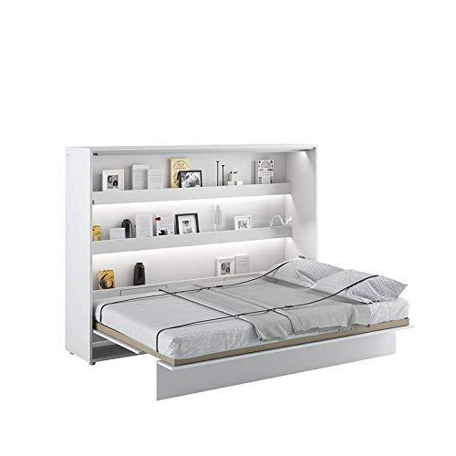 LENART - Cama plegable horizontal, 140 x 200 cm, color blanco satinado