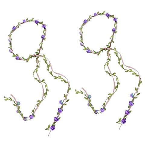 Lurrose 2 Stücke Künstliche Blume Girlande Stirnband Braut Blume Krone Einstellbar Rose Blatt Haar Reben Haarkranz Stirnband für Frauen Hochzeit (Lavendel)