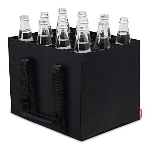 achilles 12er Bottle-Bag Flaschentasche für 12 x 1,5 Liter Wasser-Flaschen Tragetasche mit Trennwänden Einkaufs-Tasche mit 12 Fächer Schwarz 36x27x27cm