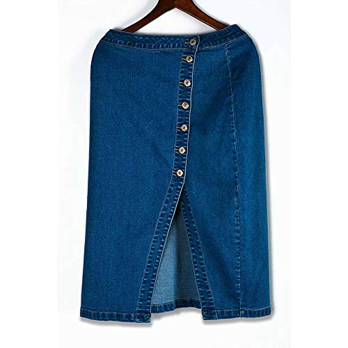 Skirts Womens Fashion Denim Pencil Skirt High Waisted Blow Knee Blue Jeans Skirts Solid Color Party beach skirt pleated Summer-Blue_XXXL_0