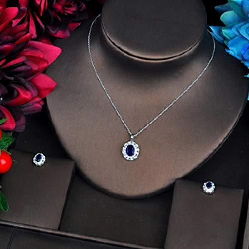 Jskdzfy Juego de joyas con colgante de circonio cúbico AAA de forma ovalada azul de lujo, conjunto de pendientes de collar y pendientes de regalo para niña (color: chapado en platino)