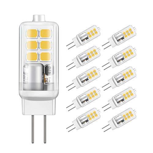 Jpodream® G4 LED Lampe, 2W 12X 2835SMD OLED Lampe, 210LM, Ersatz für 20W Halogenlampen, 6000K Kaltweiß, AC/DC12V, 360° Abstrahlwinkel LED Leuchtmittel - 10er Pack