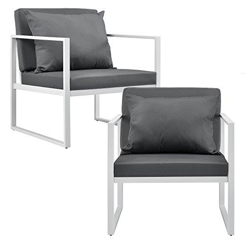 casa.pro] 2 x sillón Silla de jardín 70 x 60 x 60 cm Set de 2 Mueble de jardín para Exterior Blanco