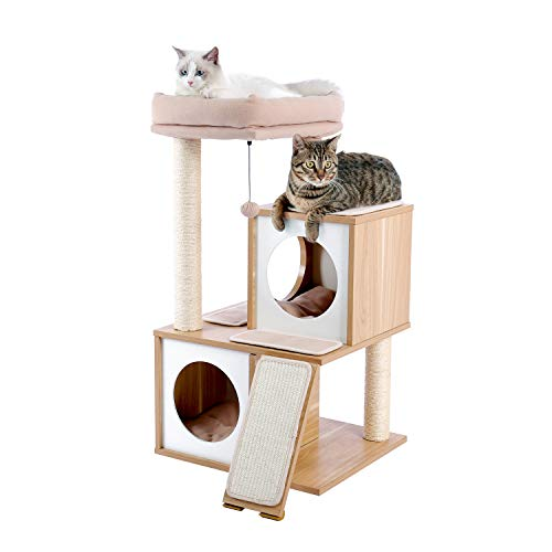 PAWZ Road Cat Tree Multi-Level Cat Tower Furniture with Spacious Perch, Fully Wrapped Sisal Scratching Posts and Replaceable Dangling Balls