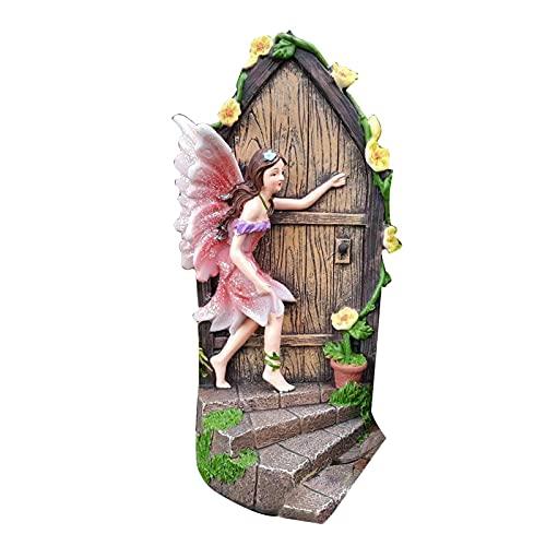 ornithologist Garten Statue Elf Mini Harz Baum Fenster Garten Figuren Dekor Gartenzwerg Statue Elfe Aus Der Tür Gartendekoration