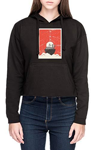 Vendax Jahrgang Japanisch Anime Ramen Damen Bauchfreies Crop Kapuzenpullover Sweatshirt Schwarz Women's Crop Hoodie Black