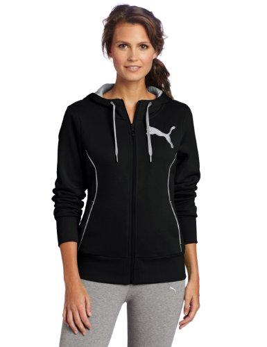PUMA Damen Fleece Hooded Sweat Jacke, schwarz / weiß, Small