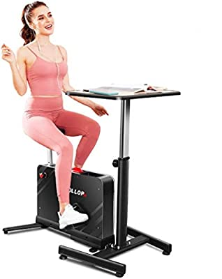 Kismom?Desk?Cycle?Indoor Exercise?Bike?with?Desk,?Portable?Folding?under?Desk?Cycle?Bike?8?Level?Magnetic?Resistance with Standing?Height?Adjustable seat for?Home?Office Gym(Exercise Bike With Desk)