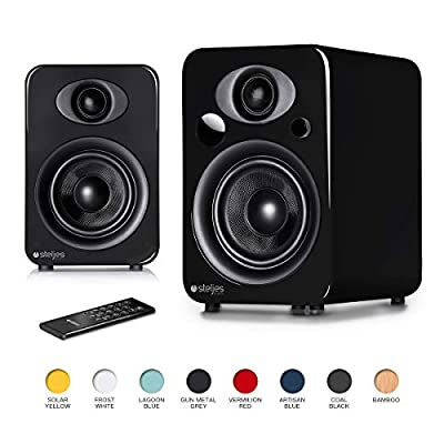 Steljes Audio NS3 Powered Loud Speakers Bookshelf Stereo System 45W RMS 60Hz to 20kHz British Design Connect RCA, 3.5mm Stereo, Optical, Bluetooth, with Built-in Subwoofer USB Charge (Gun Metal Grey) from Steljes Audio