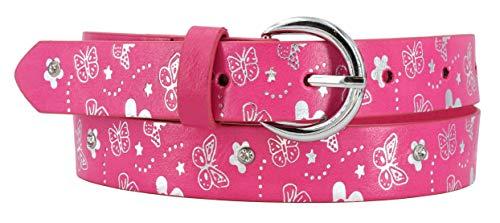 EANAGO Kindergürtel 'kleiner Schmetterling' (pink) für Mädchen (Kindergarten- und Grundschulkinder, 5-10 Jahre, Hüftumfang 57-72 cm), Gürtelmaß 65 cm, mit silbernen Schmetterlingen (pink)