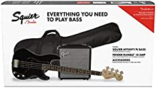 Squier by Fender Affinity Series Precision Bass PJ Beginner Pack, Laurel Fingerboard, Black, with Gig Bag, Rumble 15 Amp, Strap, Cable, and Fender Play