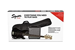"Slim and comfortable ""C""-shaped neck profile Split single-coil P Bass neck pickup, single-coil J Bass bridge pickup 4-saddle bridge Satin finish neck Includes free 3-month subscription to Fender Play, Rumble 15 bass amplifier, padded gig bag, 10' ins..."