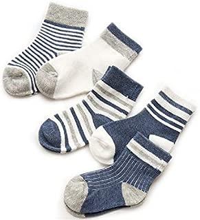 Lovely Socks 5 Pairs Children Cotton Socks Kids Autumn and Winter Cotton Stripe Mid Tube Socks (Navy) Newborn Sock (Color : Navy)