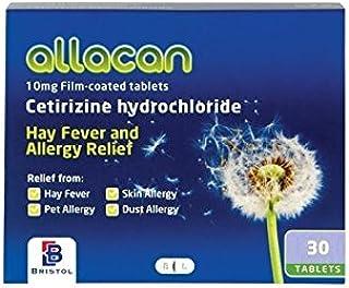 Allacan Cetirizine Hayfever Allergy Tablets (30 Tablets x 18