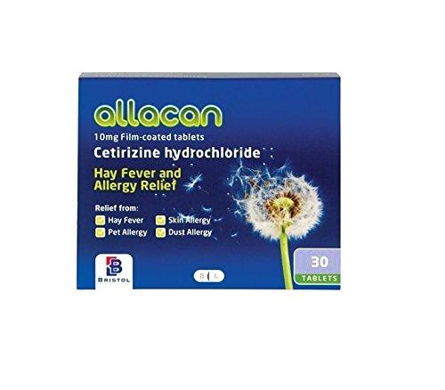 Allacan Cetirizine Hayfever Allergy Tablets (30 Tablets x 30 Packs)