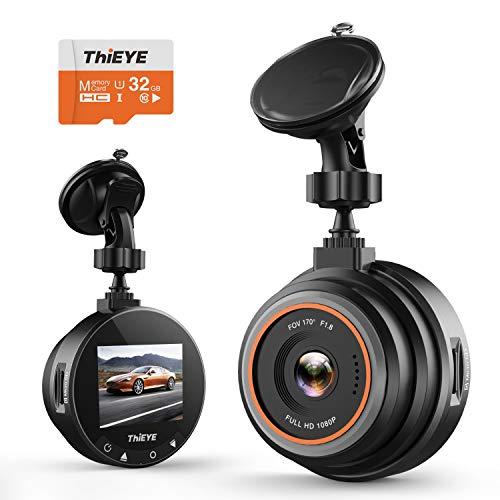 ThiEYE Cámara de Coche Dash CAM 1080P Full HD 170 Ángulo con WDR G-Sensor, Detección de Movimiento, Grabación en Bucle, Visión Nocturna, Monitor de Aparcamiento, Tarjeta SD de 32 GB