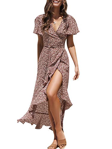 Miessial Women's Summer Chiffon V Neck Ruffle Maxi Dress Polka Dot Long Beach Wrap Dress (10-12, Wine Red)