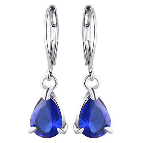 Dorical 1 Paar Ohrringe für Damen Frauen Mädchen Hängend Transparent Kristall Ohrring Anhänger,Wassertropfen Ohrhänger Tropfen Ohrringe, Handgemachte Einzigartige Schmuck,Reduziert(Dunkelblau)