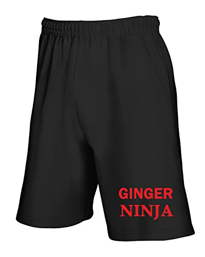Jogginghose Shorts Schwarz TR0053 Ginger Ninja 25mm 1 Pin Badge Button Humour Joke Fun Hair