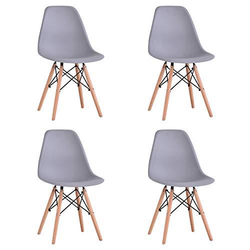 BenyLed Lot de 4 Chaises de Salle à Manger Contemporaines en Plastique Design Rétro pour Salle à Manger, Cuisine, Bureau, Restaurant, etc. (Gris)