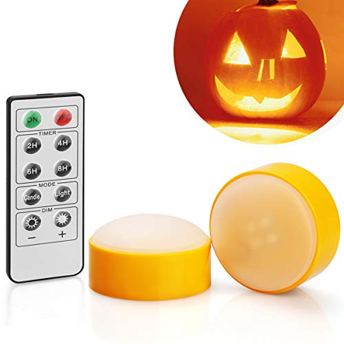 [2-Pack] Halloween LED Pumpkin Lights with Remote and Timer, Battery Operated Orange Jack-O-Lantern Light for Halloween Decor, Flameless Candles for Pumpkin Decoration
