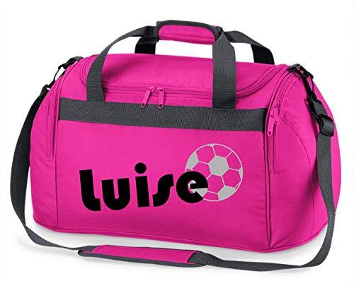 Sporttasche mit Namen | inkl. NAMENSDRUCK | Motiv Fußball | Personalisieren & Bedrucken | Reisetasche Jungen Ball Sport-Verein | blau schwarz (pink)
