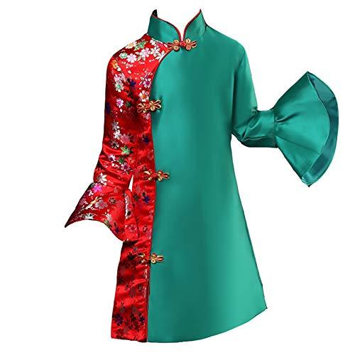 XYW Cheongsam Children's Cheongsam - Otoño e Invierno Vestido de Saludos de Año Nuevo Chino Mejorado Vestido de la Princesa del Invierno del Invierno del Invierno (Color : Green-Red, Size : #130)