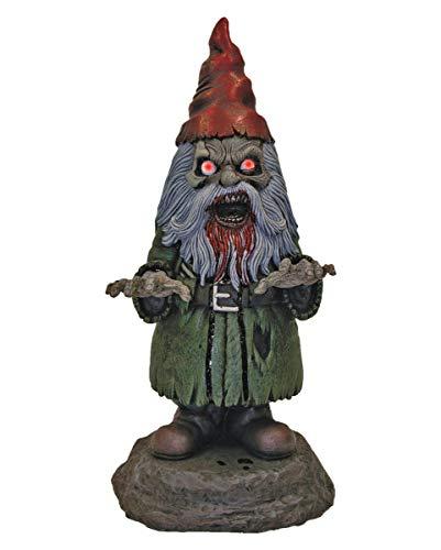 Horror-Shop Zombie Gartenzwerg mit leuchtenden LED Augen als gruselige Halloween Deko