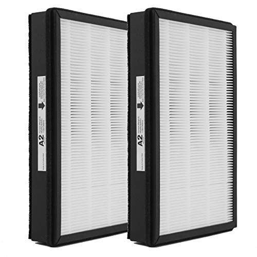 Wocase Replacement HEPA A2 Size Filter, Compatible with Filtrete C02 C03 T03 Room Air Purifier Devices, 2 HEPA + 2 Carbon pre-filters