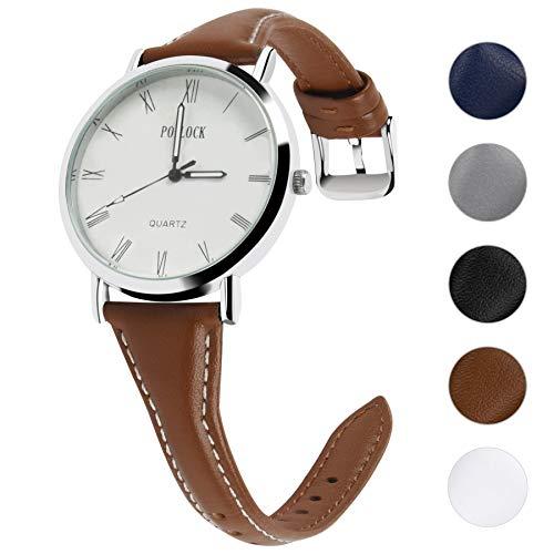 Fullmosa 5 Farben Uhrenarmband,Schmal Lederarmband Armbanduhr mit Edelstahl Schnallen für Herren Damen 18mm