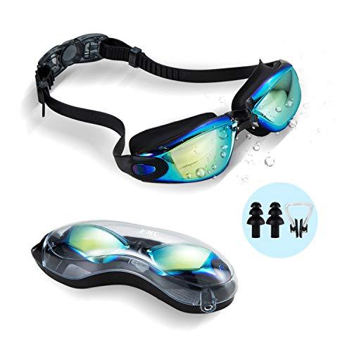 Gaslen Swim Goggles, No Leaking Anti Fog UV Protection Triathlon Swim Goggles with Nose Clips