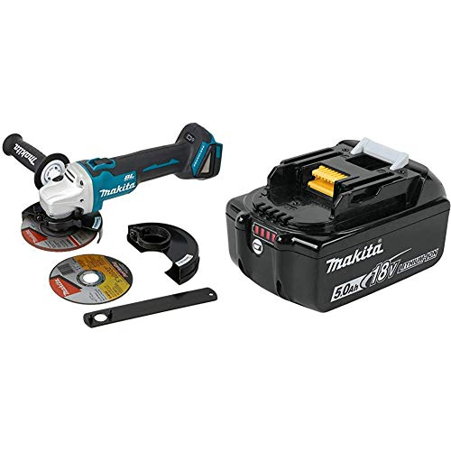 Makita XAG09Z 18 Volt LXT Lithium-Ion Brushless Cordless 4-1/2 Inch / 5 Inch Cut-Off/Angle Grinder, with Electric Brake with Makita BL1850B 18 Volt LXT Lithium-Ion 5.0Ah Battery