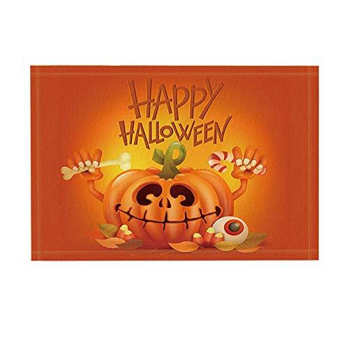 ottbrn Halloween Duschvorhang Terror Kürbiskopf halten Knochen & Süßigkeiten rutschfeste Fußmatte Boden Eingänge Innen Haustür Matte Kinder Badematte 15.7x23.6in Badezimmerzubehör