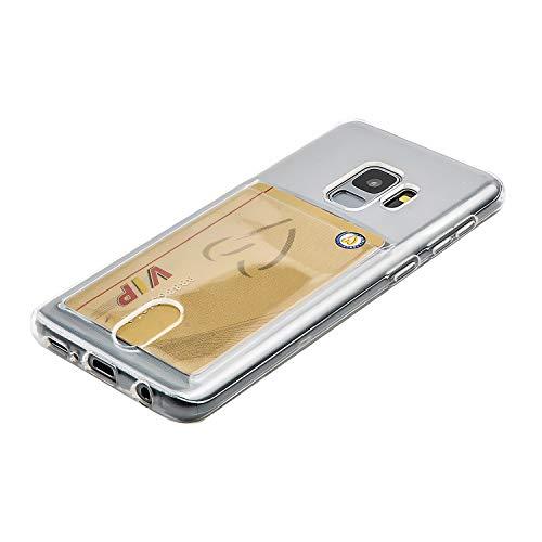 Wormcase ® Handy Hülle mit Kartenfach kompatibel für das Samsung Galaxy S9 - Transparent - TPU Schale Back-Cover Schutz-Tasche Kratzfest Stoßfest Bumper Crystal-Clear