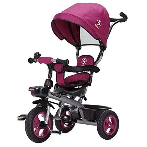Qivor Kinderwagen Kinder Tricycle Nicht aufblasbare 05.01 Jahre alt Baby-Fahrrad mit Markise (Color : Purple)
