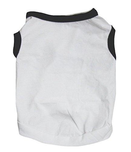 Petitebelle Plain Wit Zwart Katoen T-Shirt Hond Jurk, X-Large, Kleur: wit