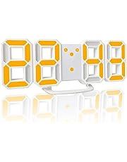 YABAE デジタル時計 LEDデジタル目覚まし時計 時計 壁掛け 3D led wall clock 置き時計 置時計 おしゃれ 多機能 明るさ調整 スムーズ アラーム クロック 12H/24H時間表示 立体 卓上