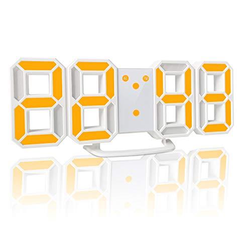 YABAE デジタル時計 LEDデジタル目覚まし時計 時計 壁掛け 3D led wall clock 置き時計 置時計 おしゃれ 多機能 明るさ調整 スヌーズ アラーム クロック 12H/24H時間表示 立体 卓上 イエロー AL-02-Y